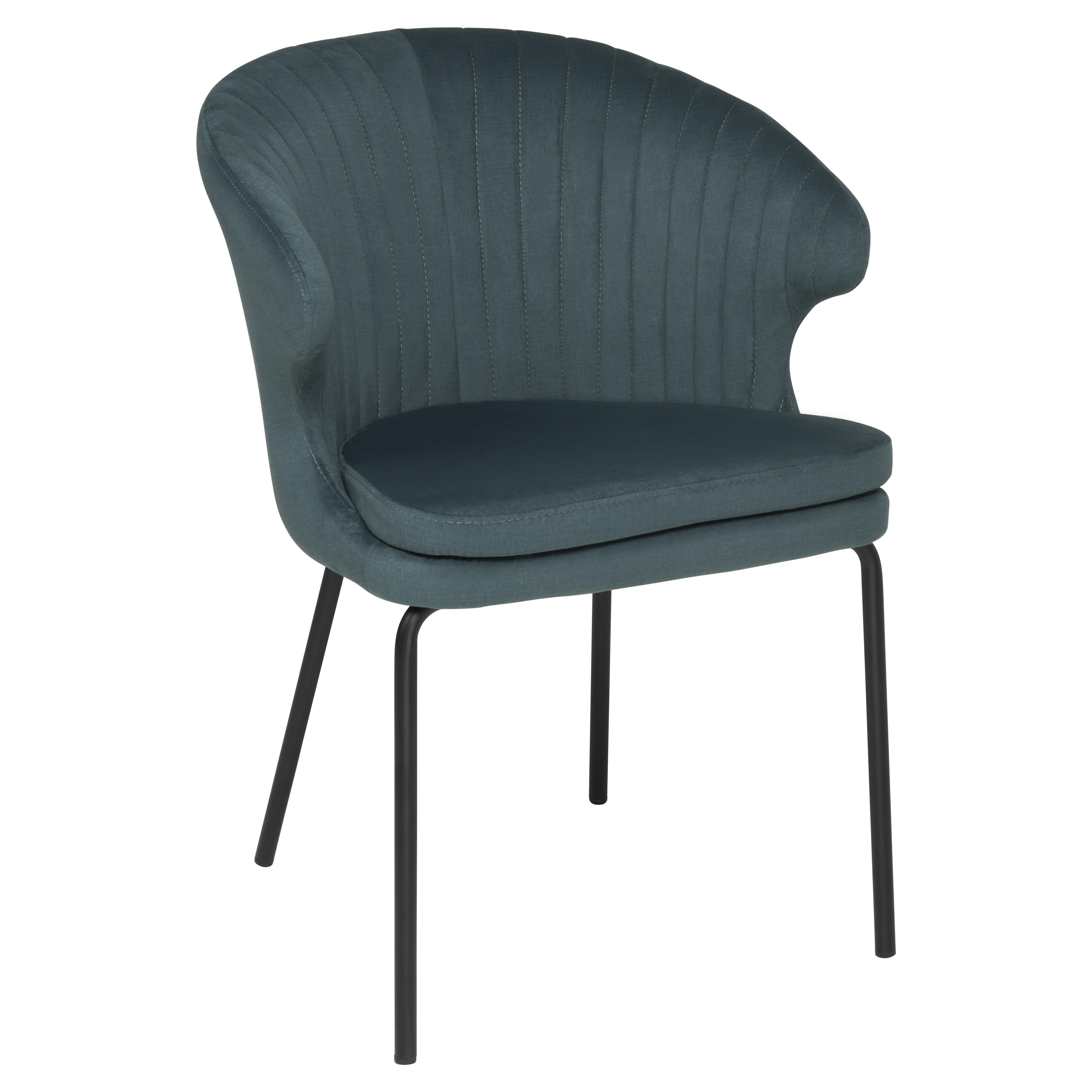 Pecten scallop dining chair teal distressed velvet