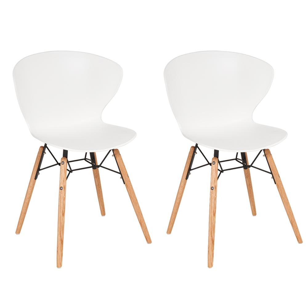 Lenis dining chair wing back plastic white set of two