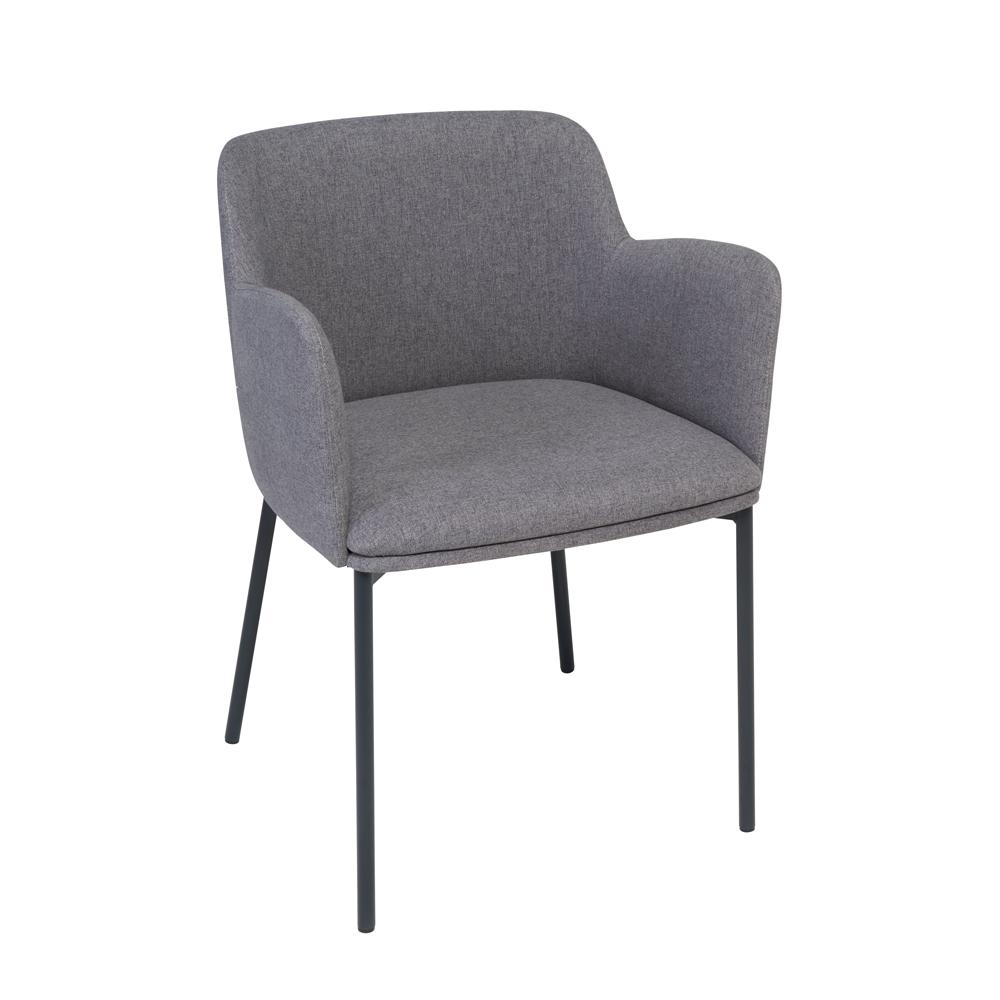 Toros dining  armchair grey fabric black legs