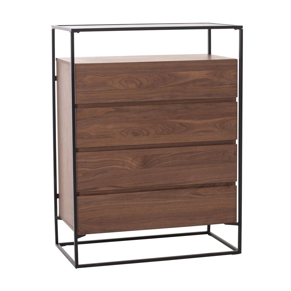 Divario chest of drawers walnut base glass top