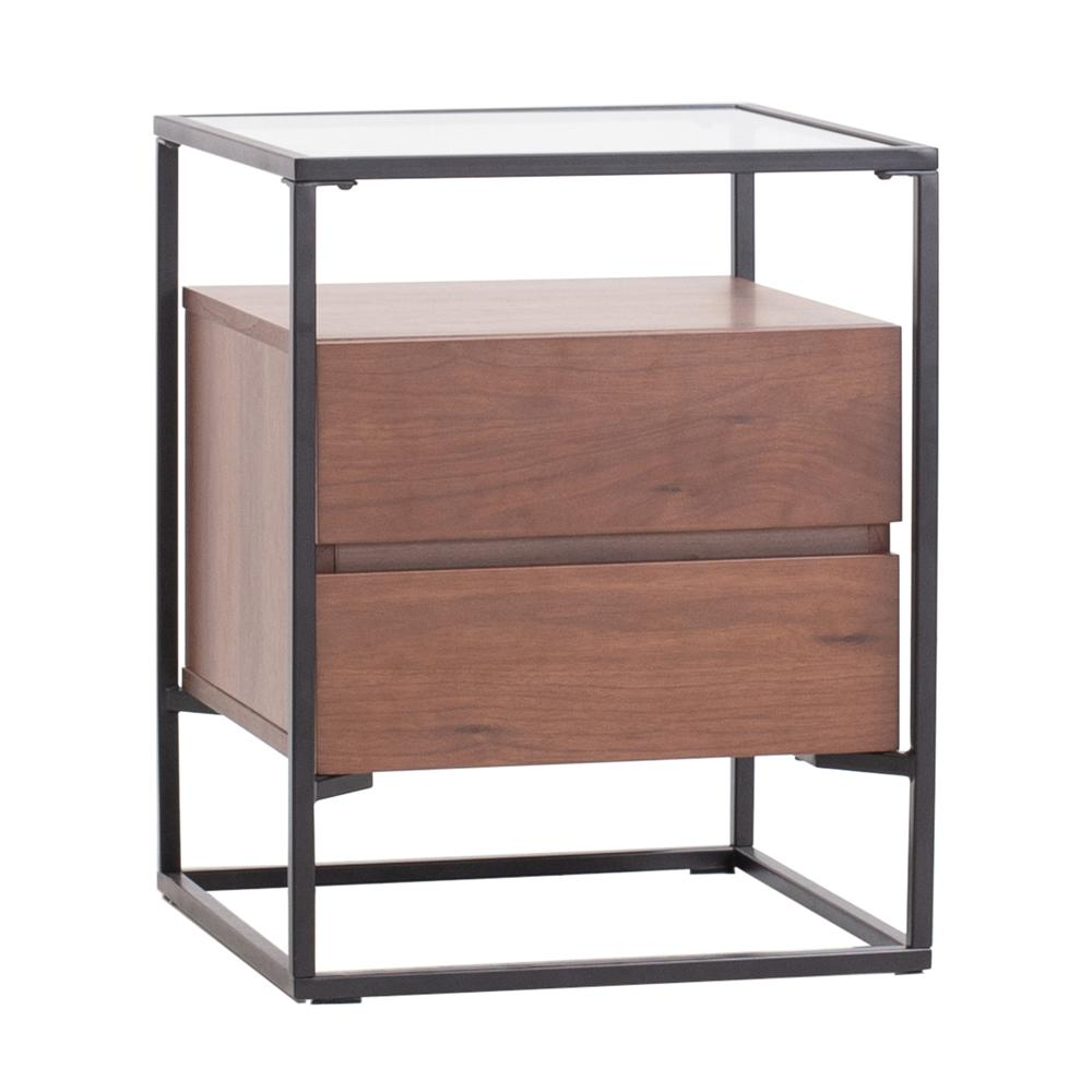 Divario bedside table walnut base glass top