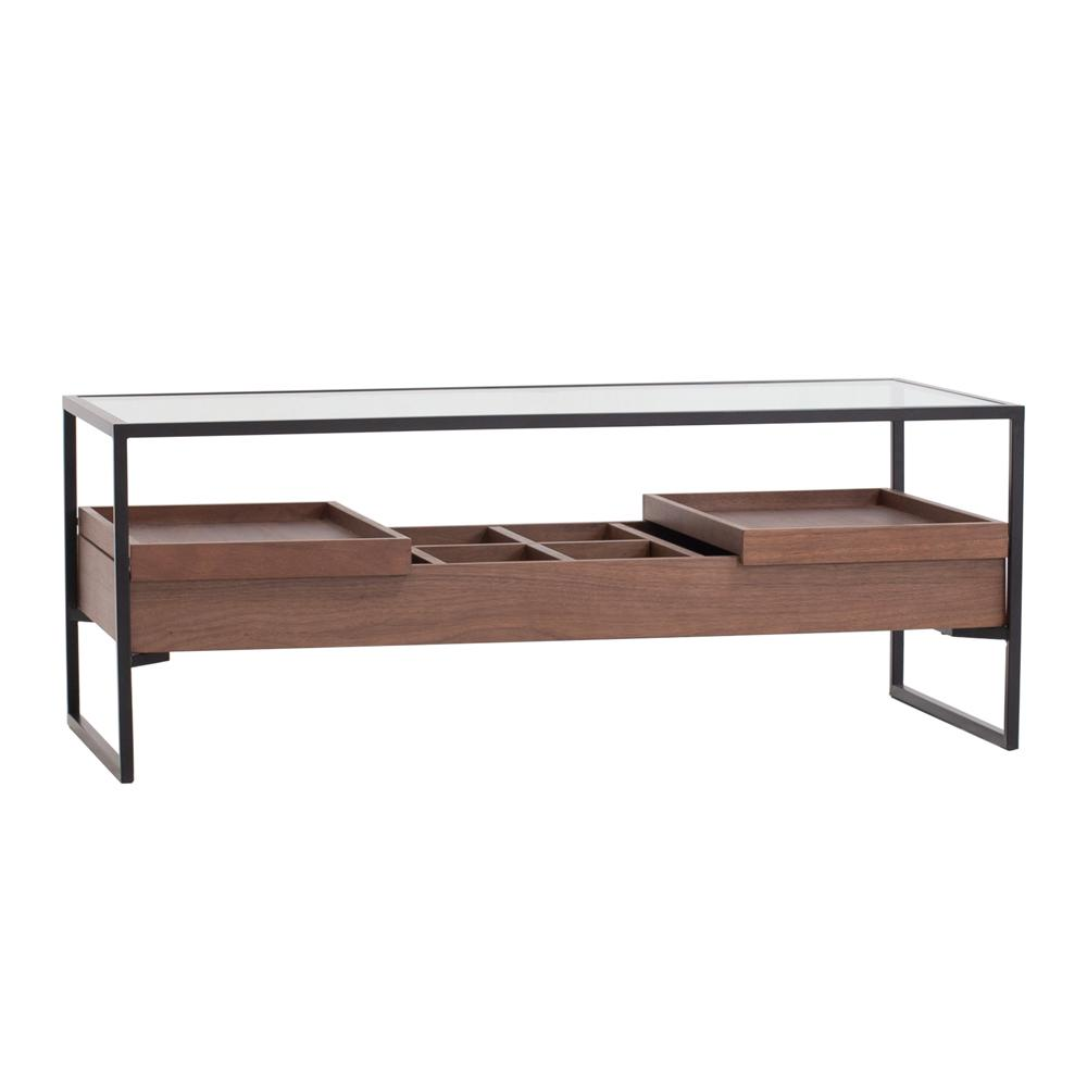 Divario coffee table walnut base glass top with 2 trays