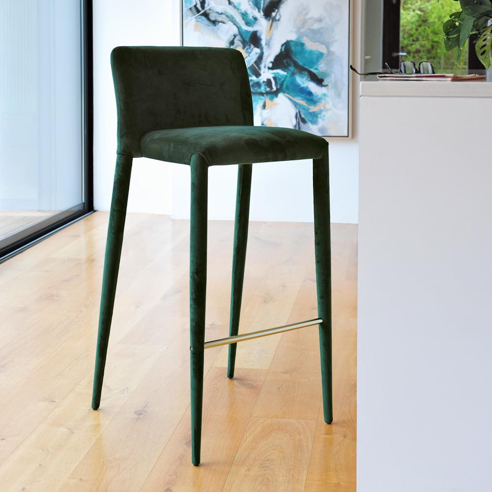 Svelte bar stool green velvet