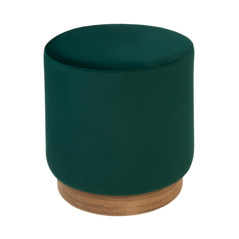 Duo stool green velvet walnut base