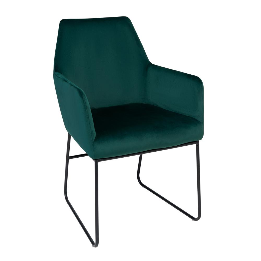 Trono dining chair green velvet black leg