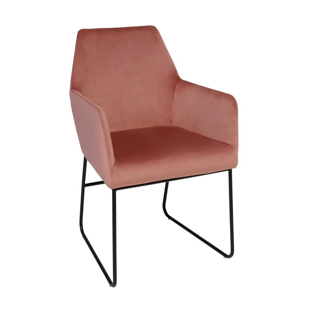 Trono dining chair dusky pink velvet black leg