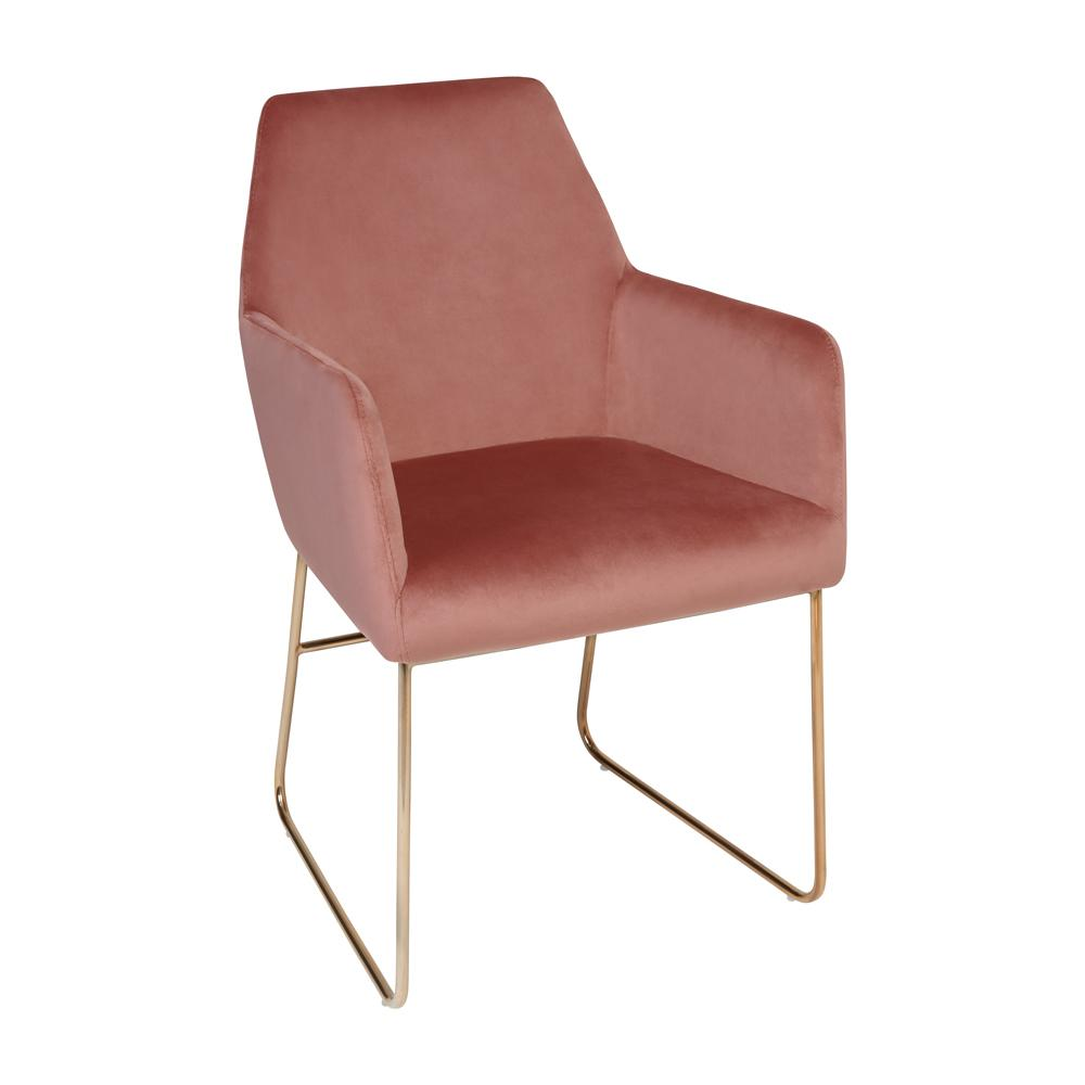 Trono dining armchair dusky pink velvet brass leg