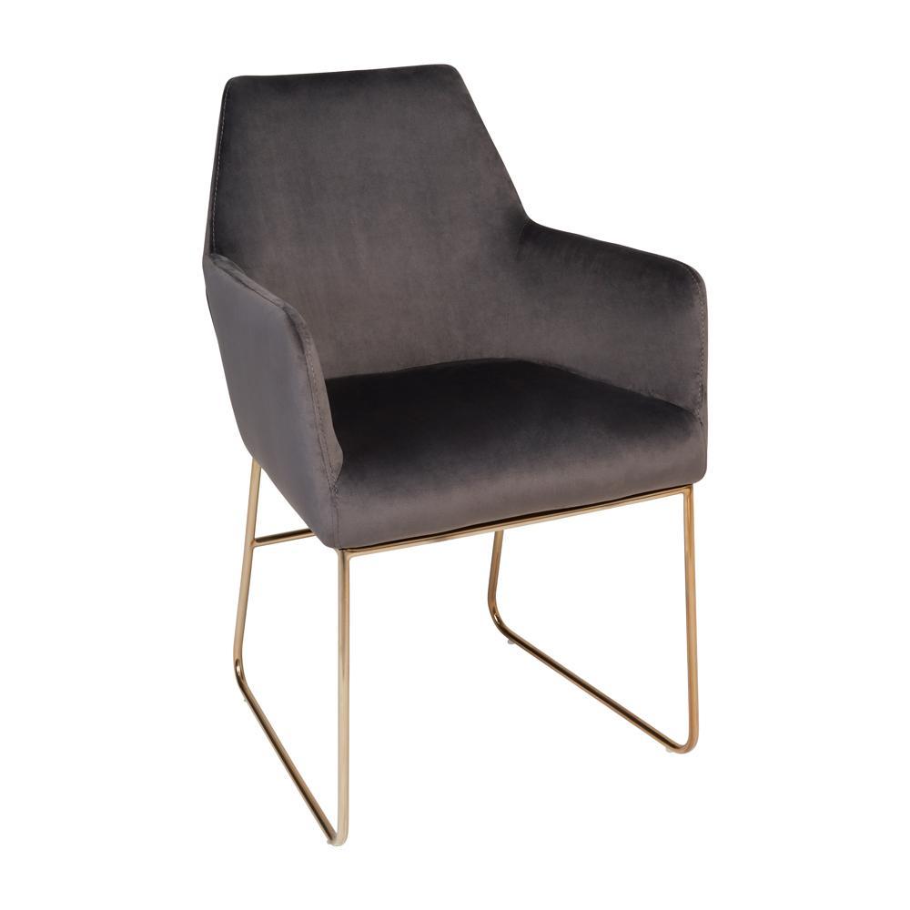 Trono dining armchair grey velvet brass leg