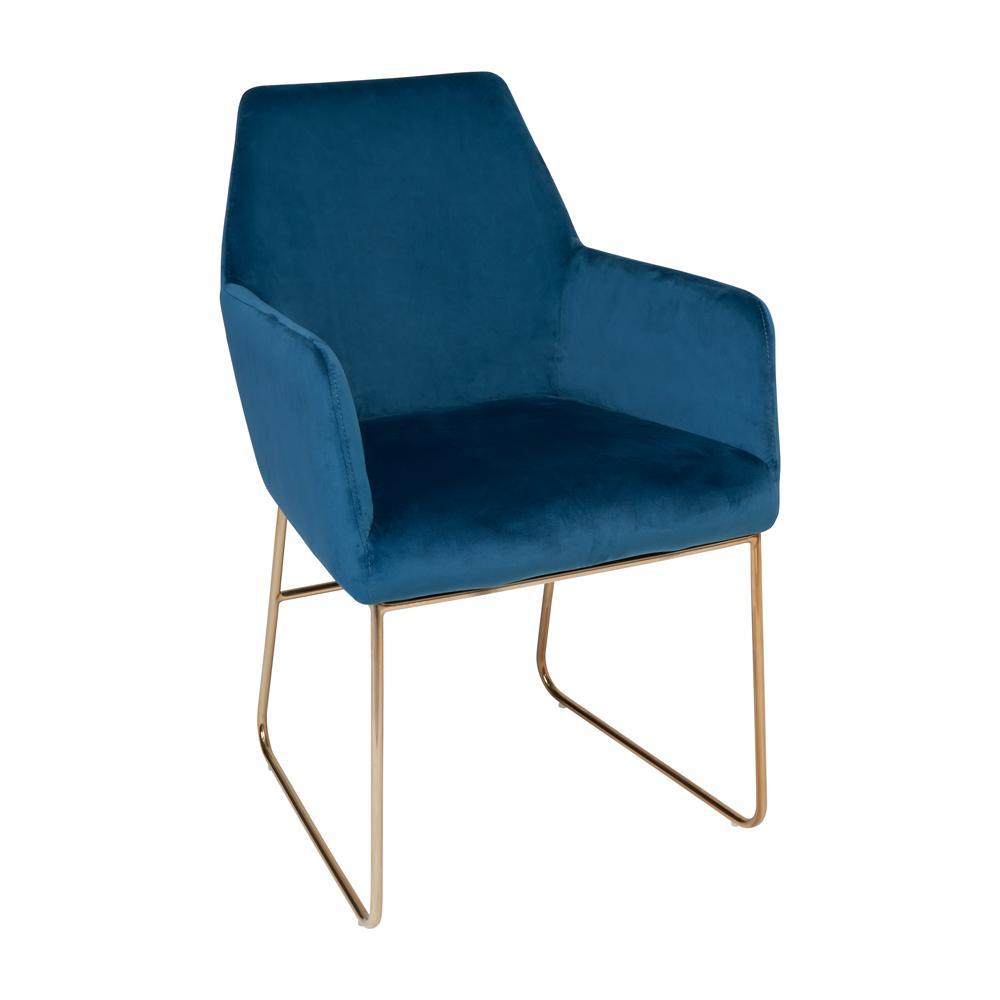 Trono dining armchair blue velvet brass leg
