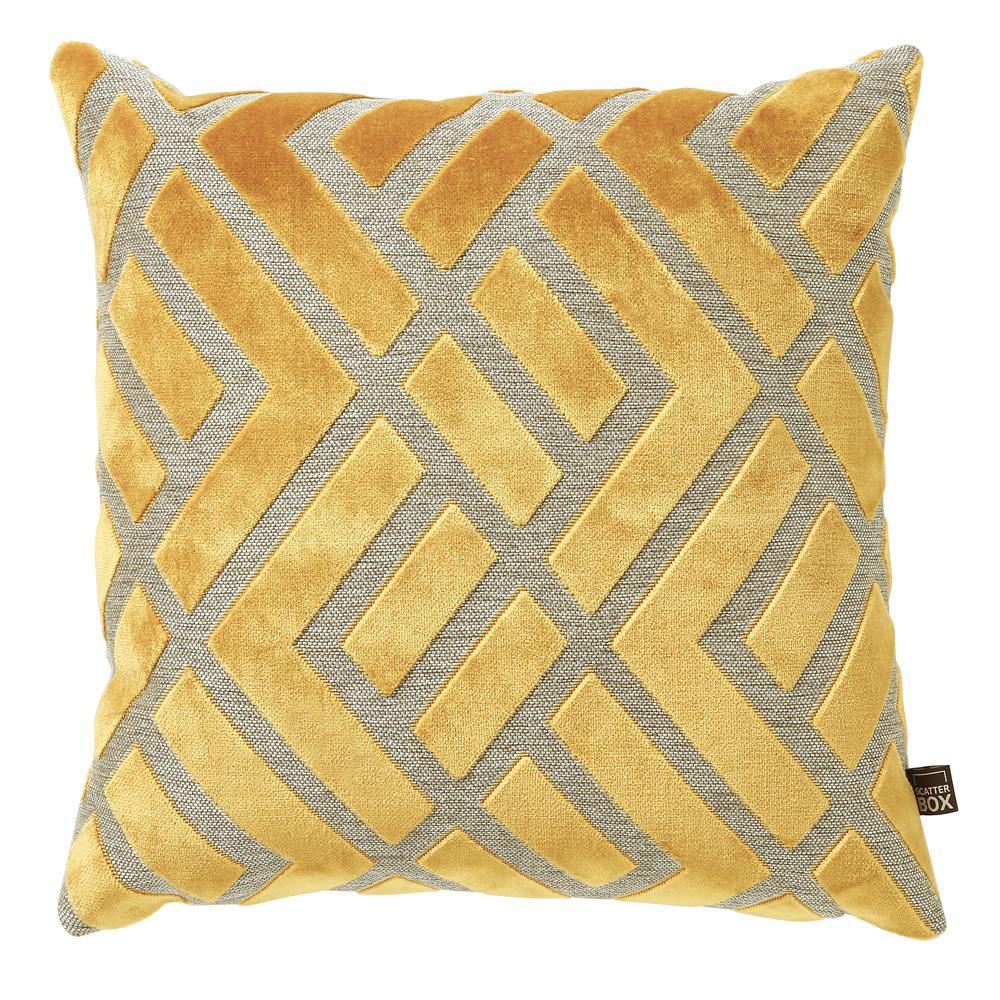 Geometrico ochre velvet cushion