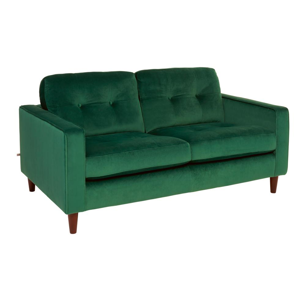 Bergen two seater sofa alba velvet forest green