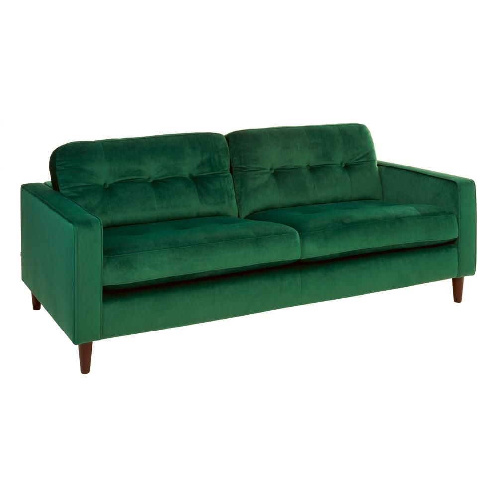 Bergen three seater sofa alba velvet forest green