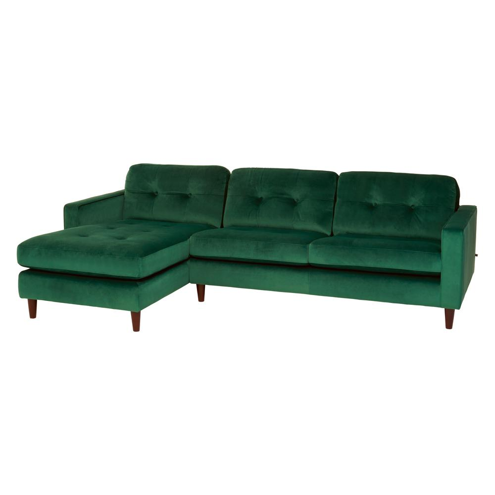 Bergen left hand facing four seater chaise sofa alba velvet forest green