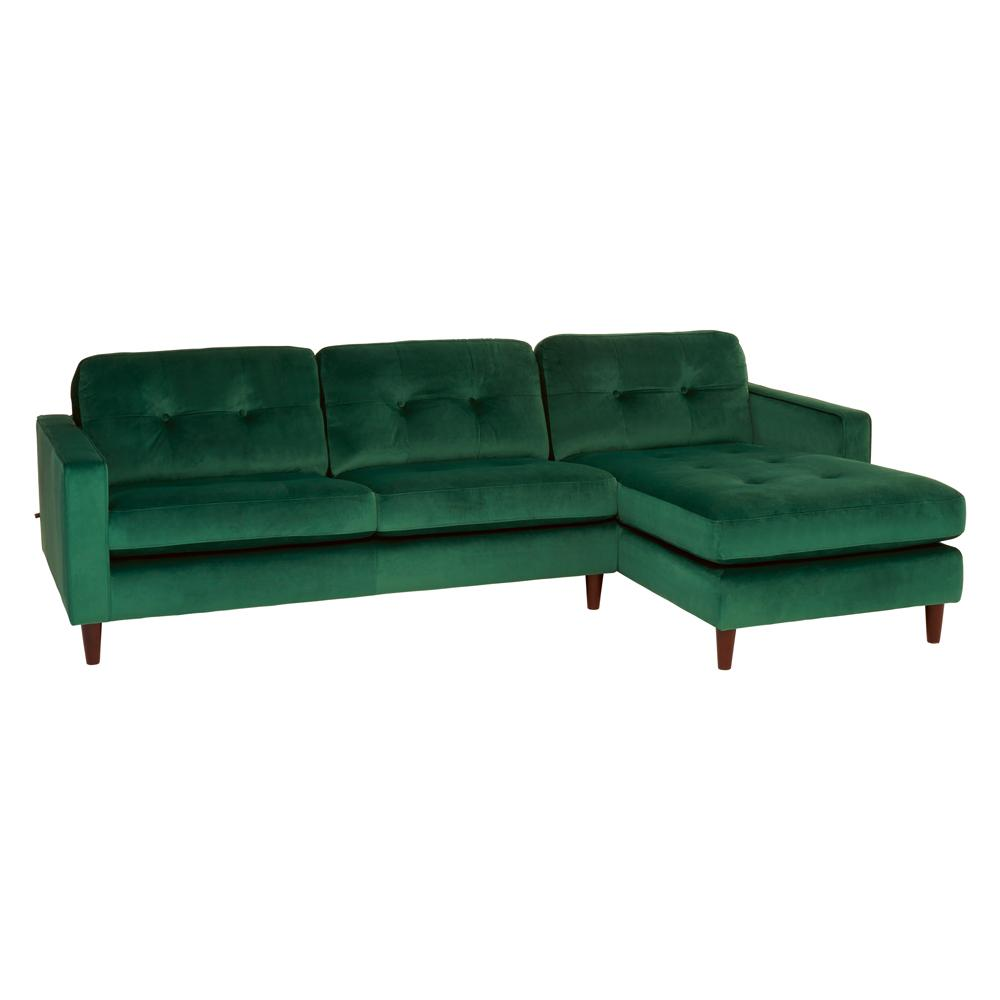 Bergen right hand facing four seater chaise sofa alba velvet forest green