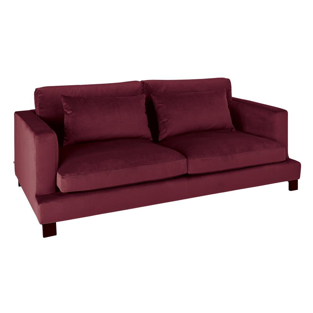 Lugano II three seater sofa alba velvet burgundy