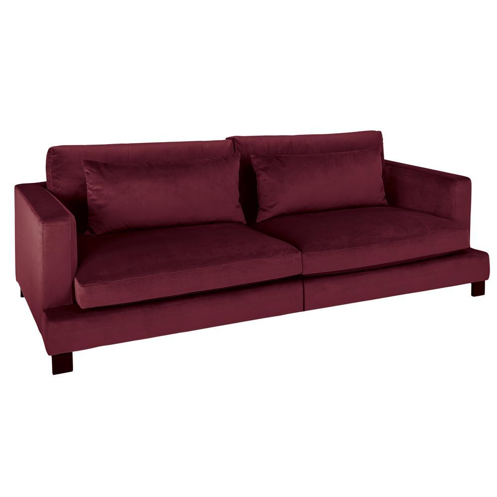 Lugano II four seater sofa alba velvet burgundy