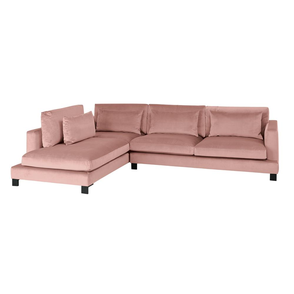 Lugano II right hand facing arm corner sofa alba velvet dusky pink