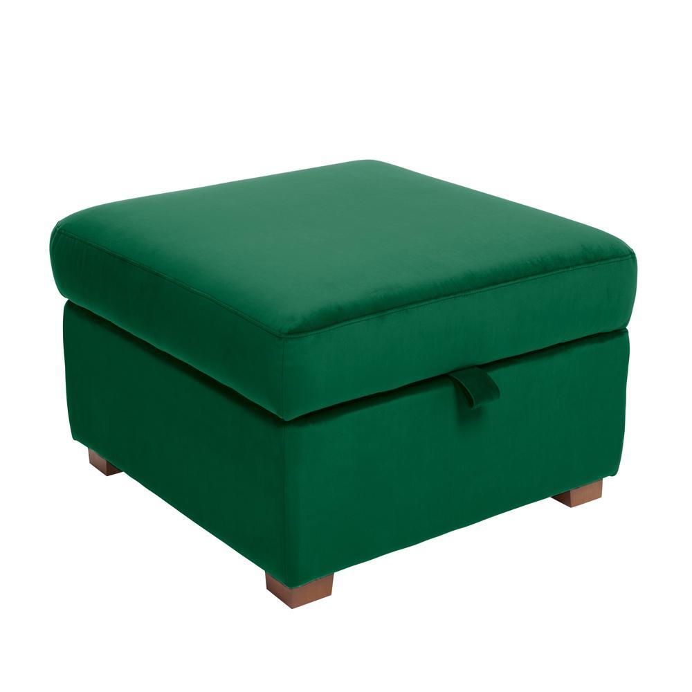 Ankara II storage footstool alba velvet forest green