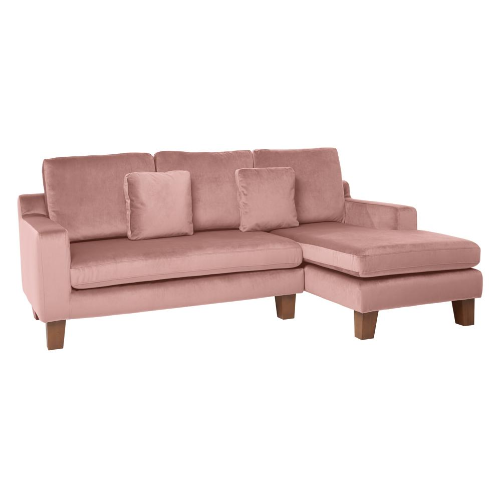 Ankara II right hand facing three seater chaise sofa alba velvet dusky pink