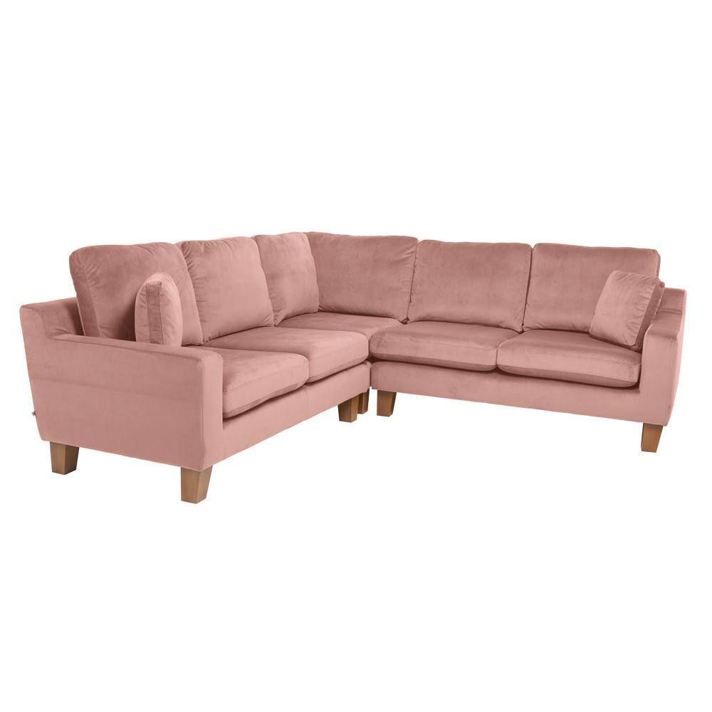 Ankara II full corner sofa alba velvet dusky pink