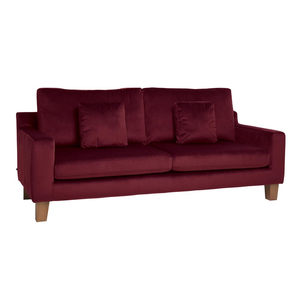 Ankara II three seater sofa alba velvet burgundy