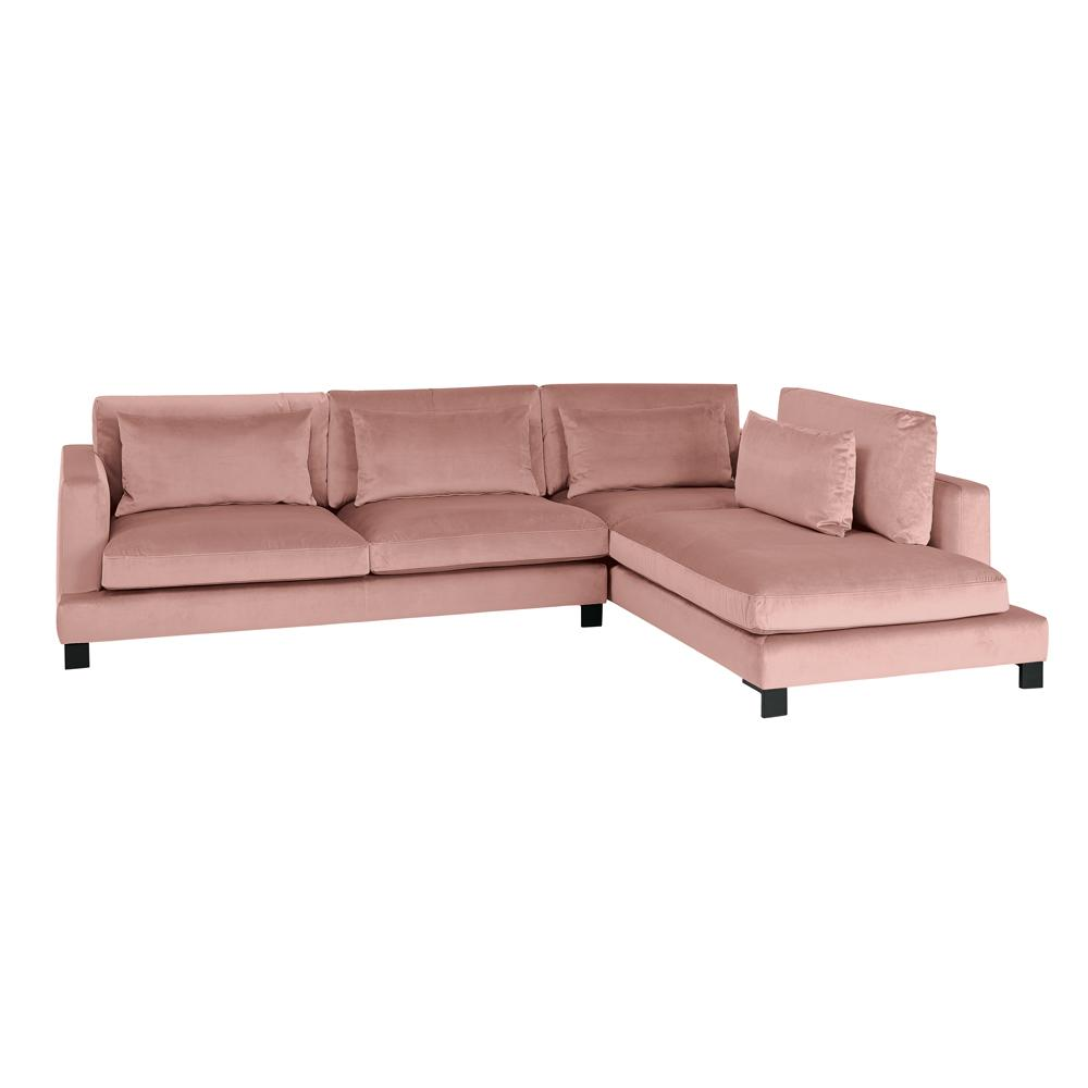 Lugano II left hand facing arm corner sofa alba velvet dusky pink