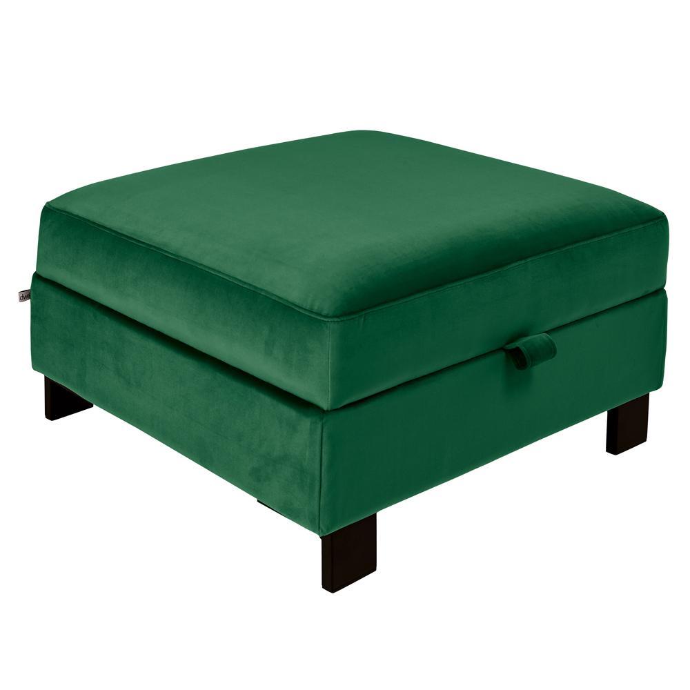 Lugano II storage footstool alba velvet forest green