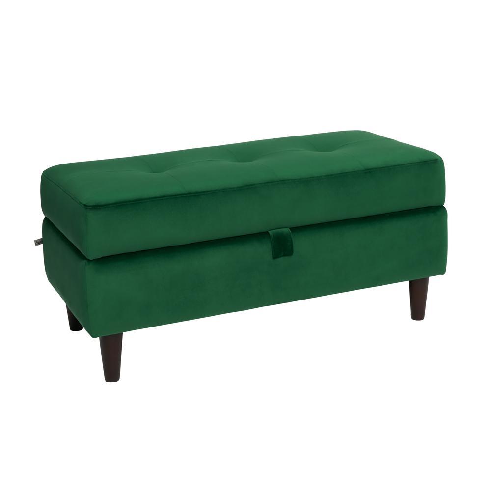 Bergen storage footstool forest green velvet