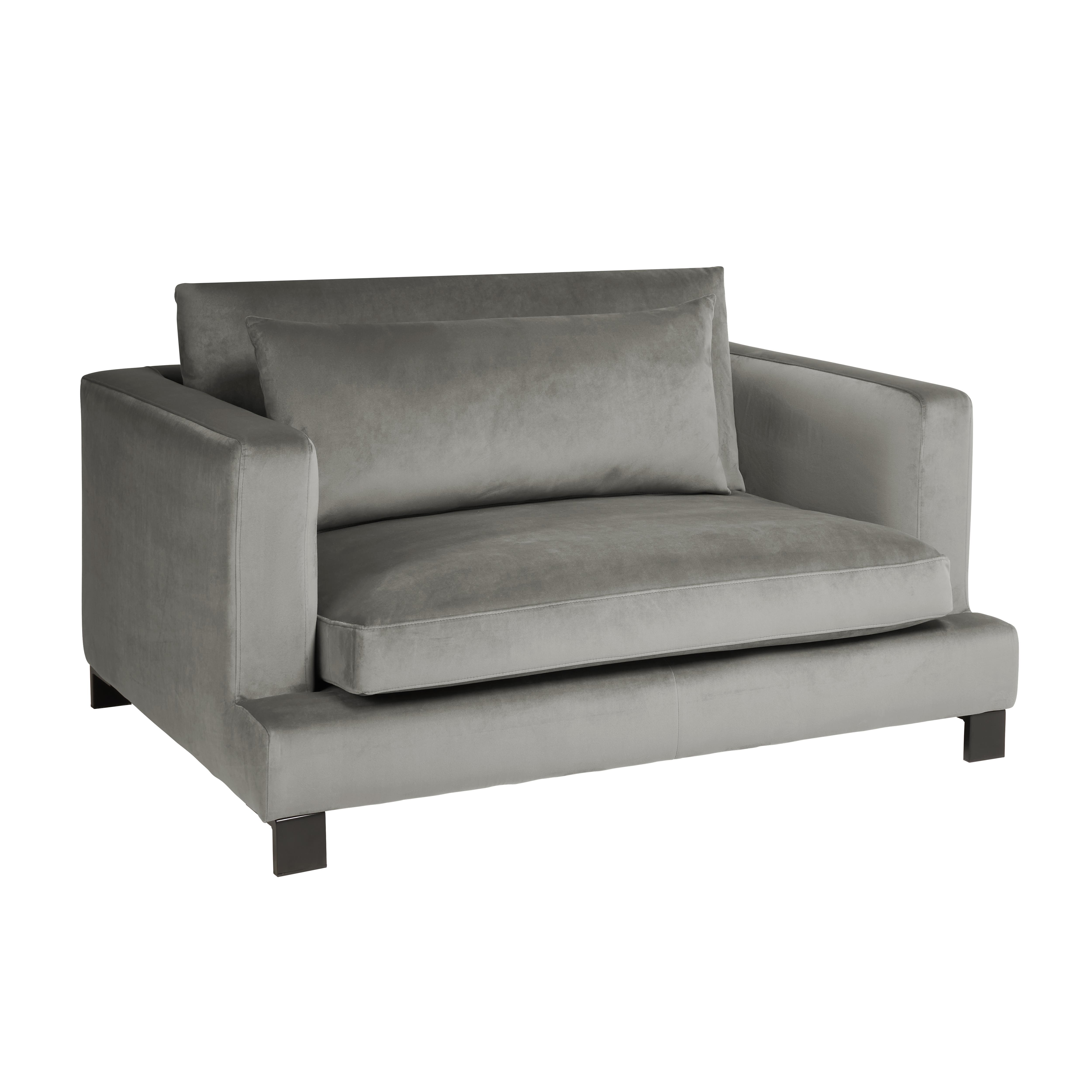 Lugano II cuddler sofa alba velvet grey