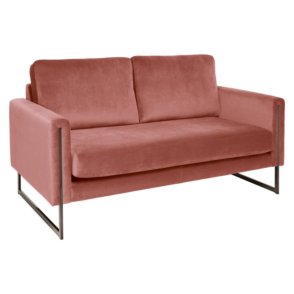 Bruges two seater sofa alba velvet dusky pink