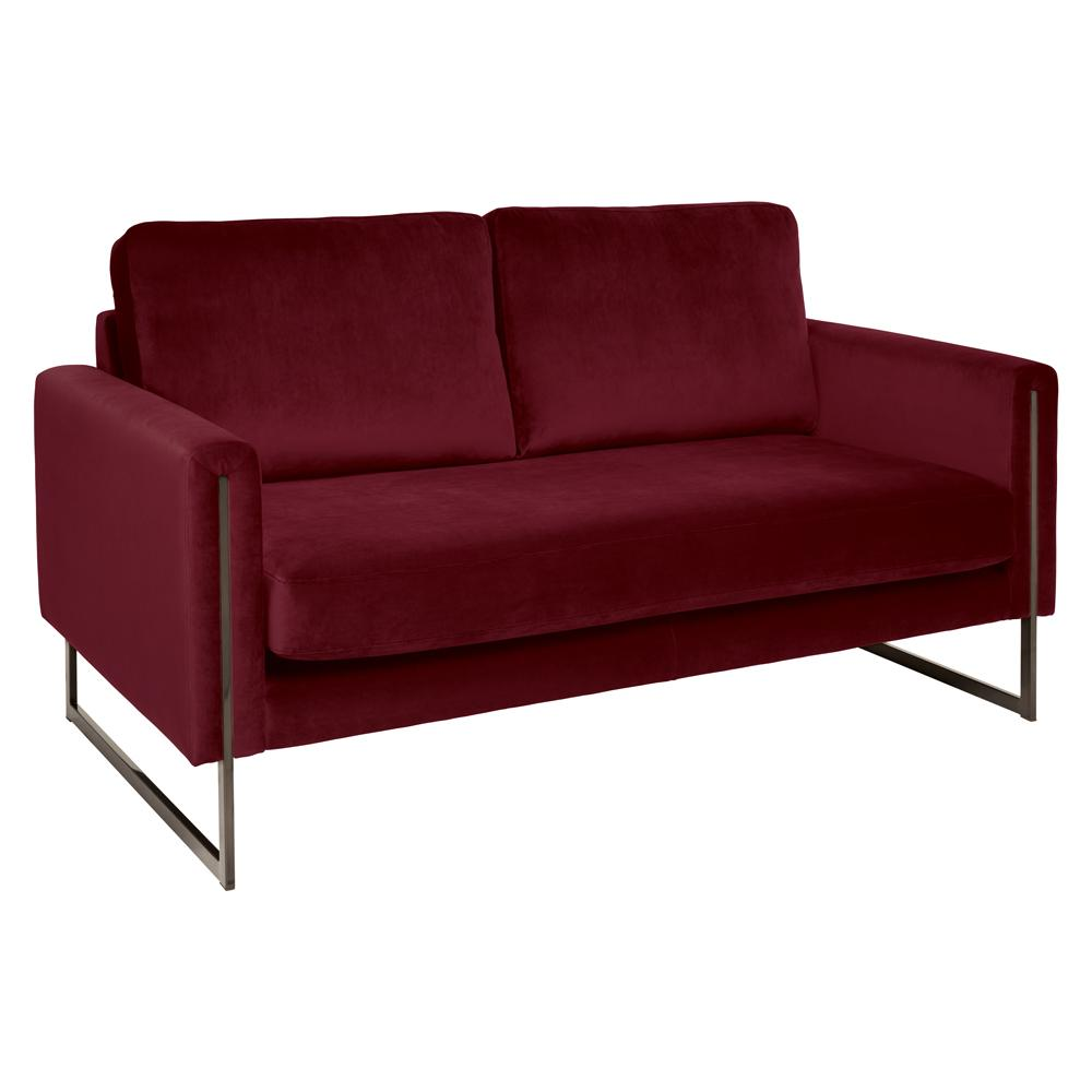 Bruges two seater sofa alba velvet burgundy