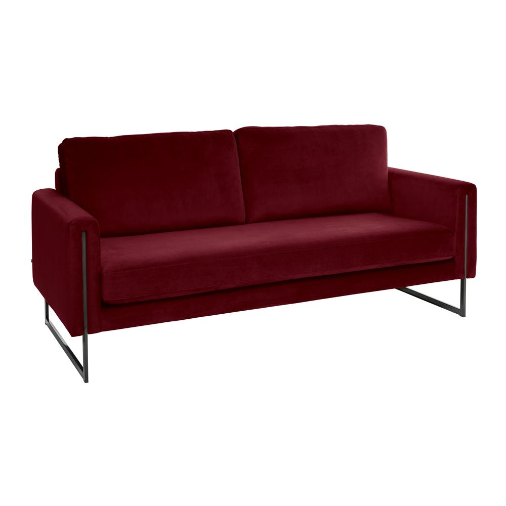 Bruges three seater sofa alba velvet burgundy