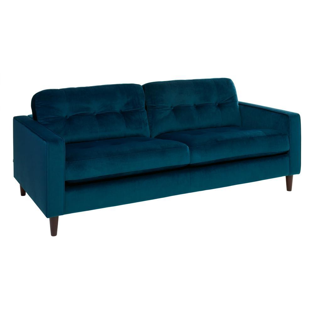 Bergen three seater sofa alba velvet blue