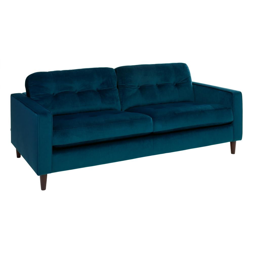 Bergen three seater sofa alba velvet blue
