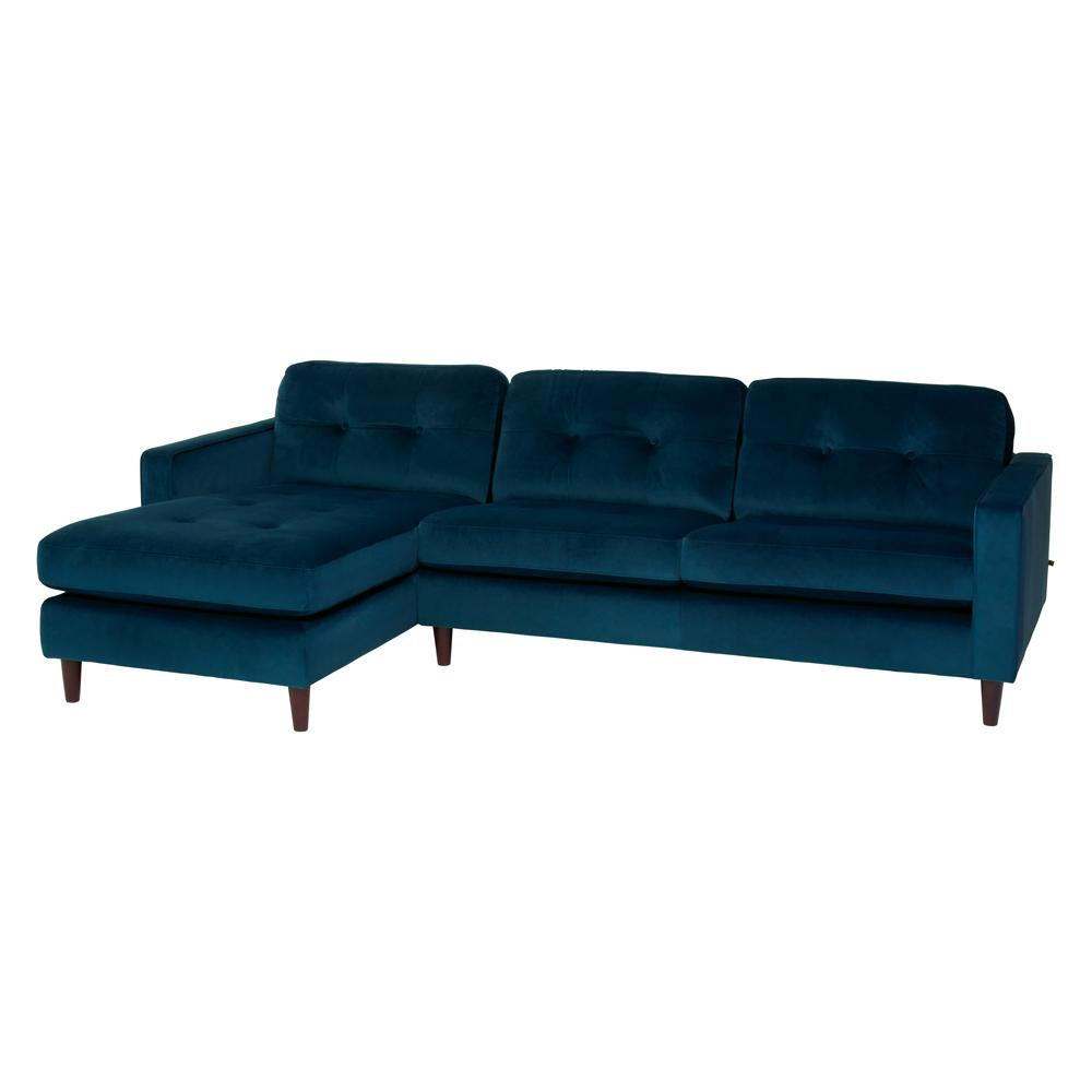 Bergen left hand facing four seater chaise sofa alba velvet blue