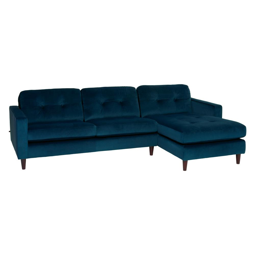 Bergen right hand facing four seater chaise sofa alba velvet blue