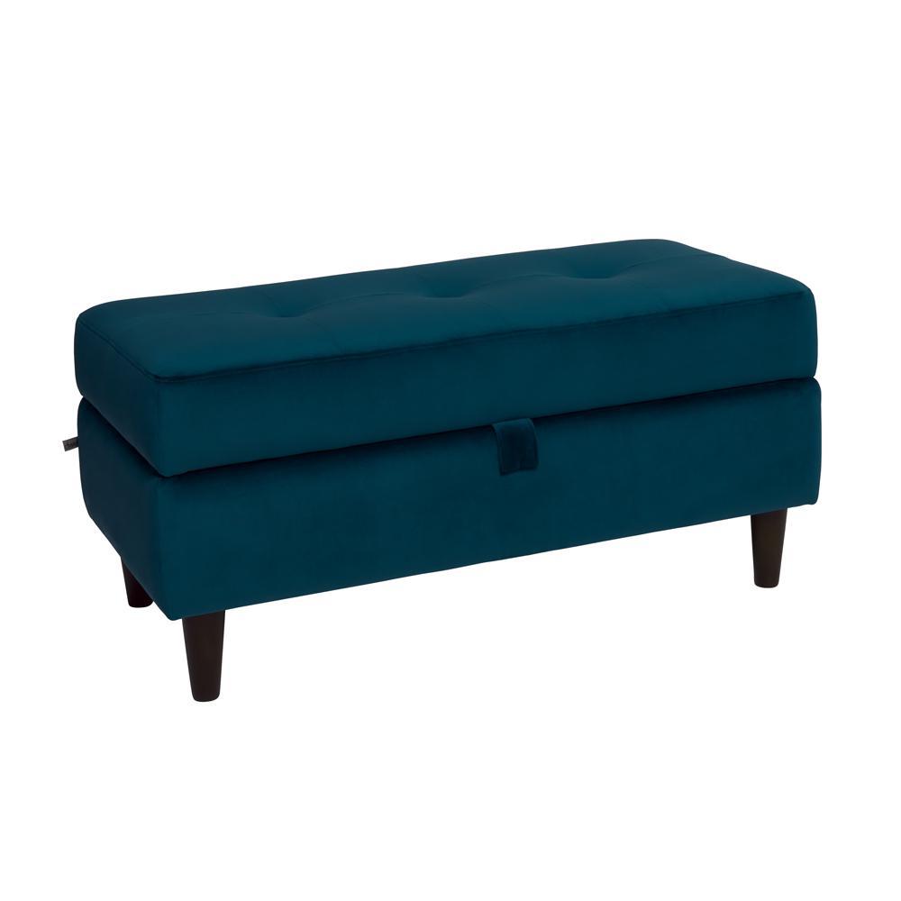 Bergen storage footstool blue velvet