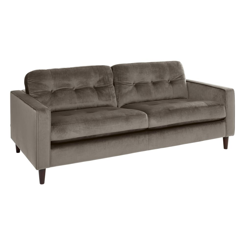 Bergen three seater sofa alba velvet grey