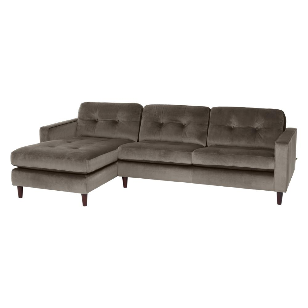 Bergen left hand facing four seater chaise sofa alba velvet grey