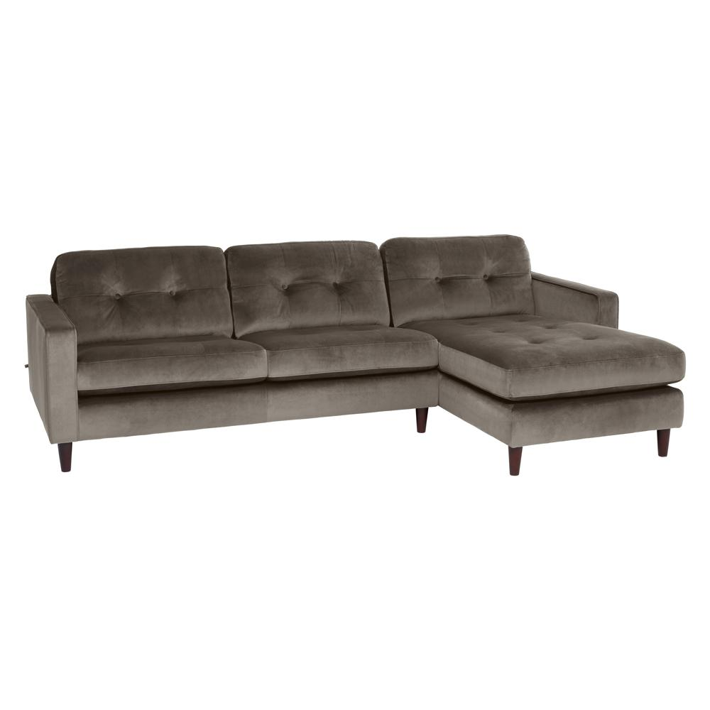 Bergen right hand facing four seater chaise sofa alba velvet grey