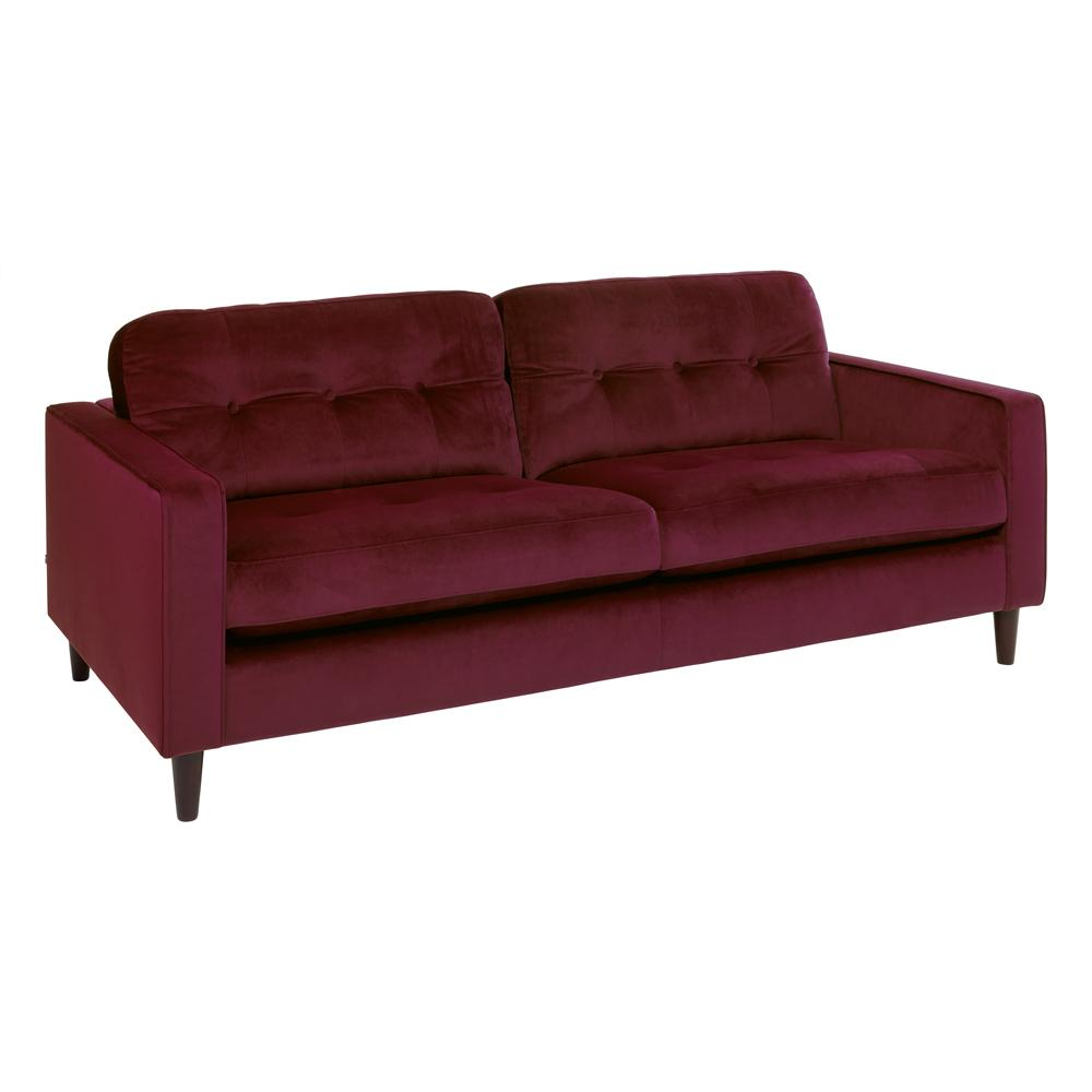 Bergen three seater sofa alba velvet burgundy