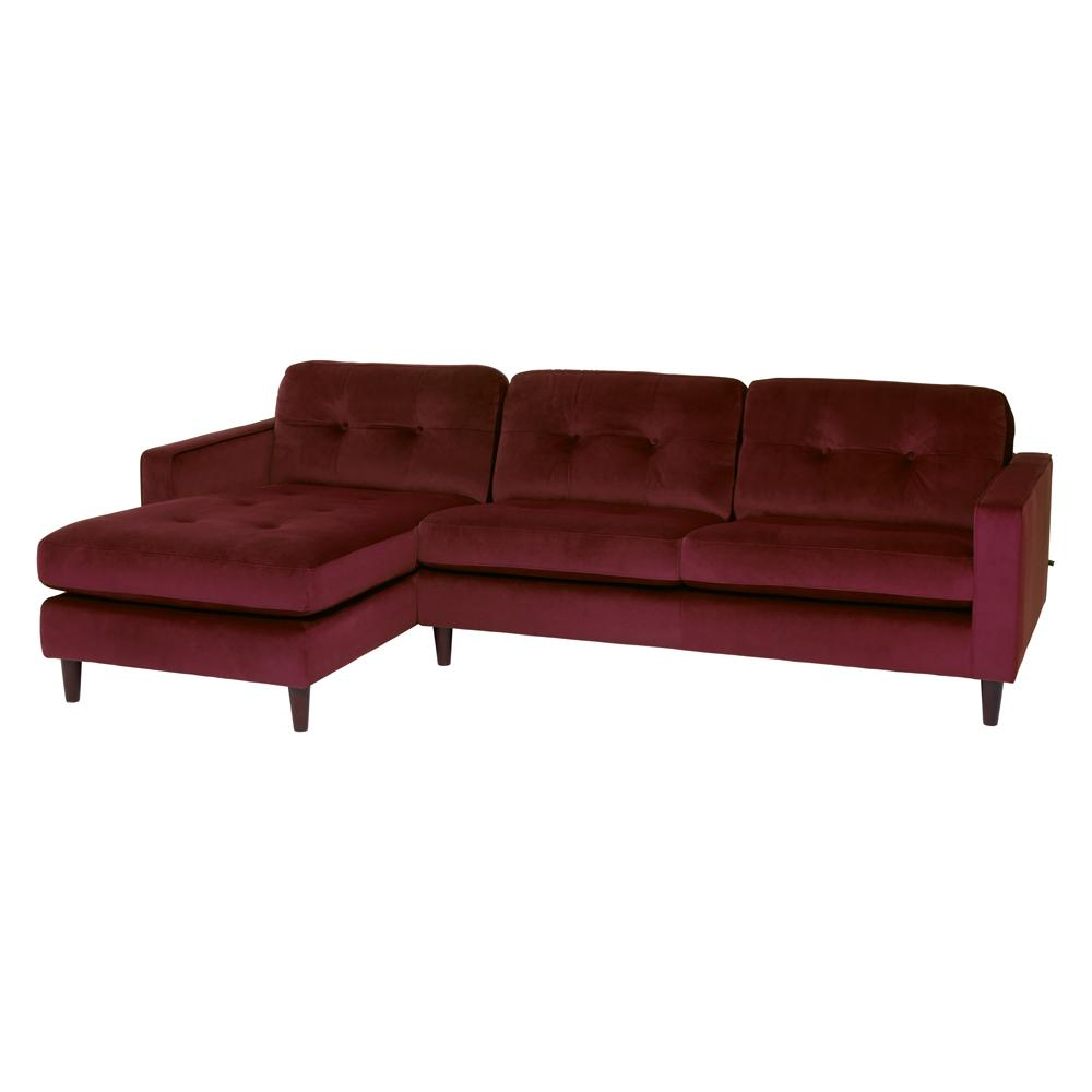 Bergen left hand facing four seater chaise sofa alba velvet burgundy