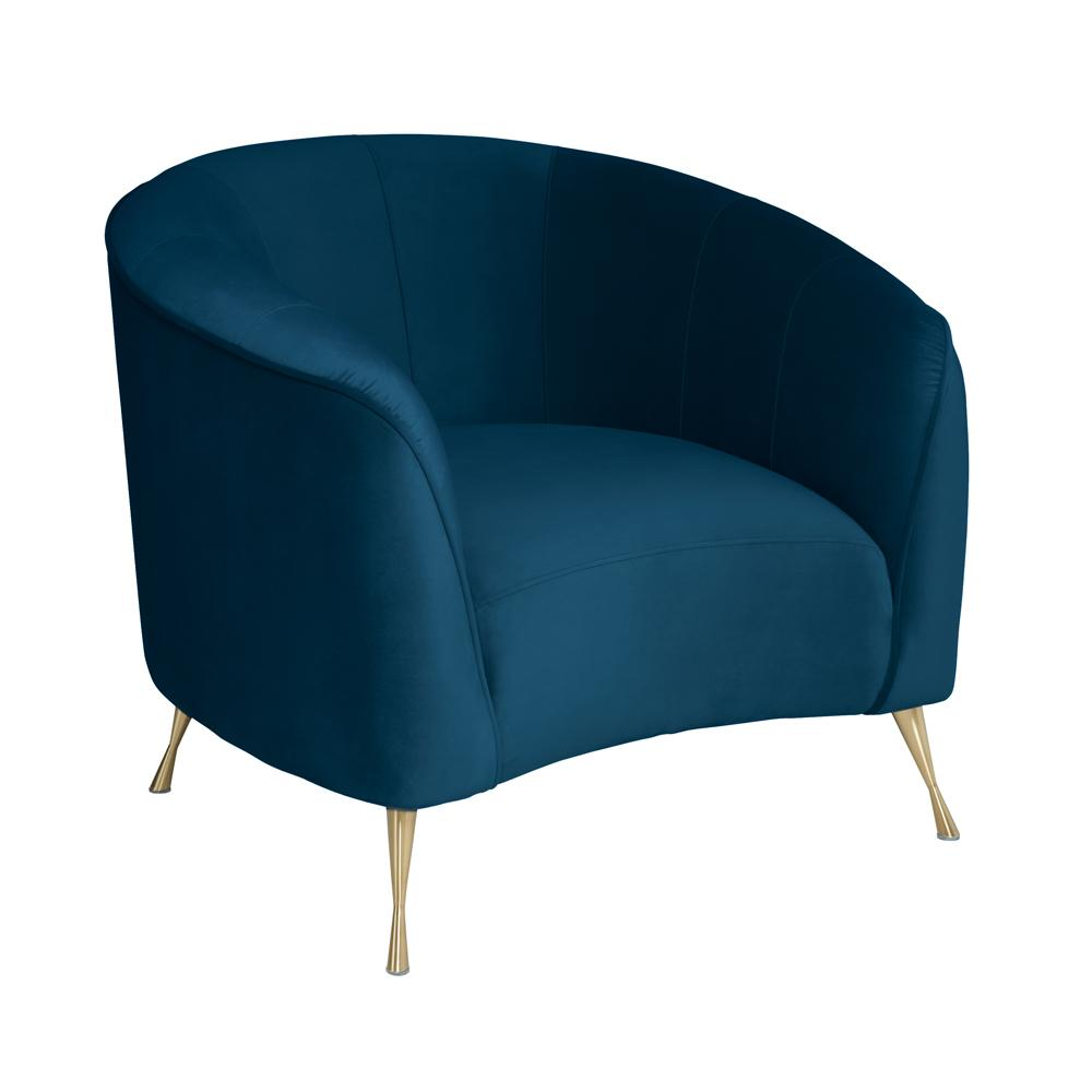 Bordeaux curve accent chair alba velvet blue
