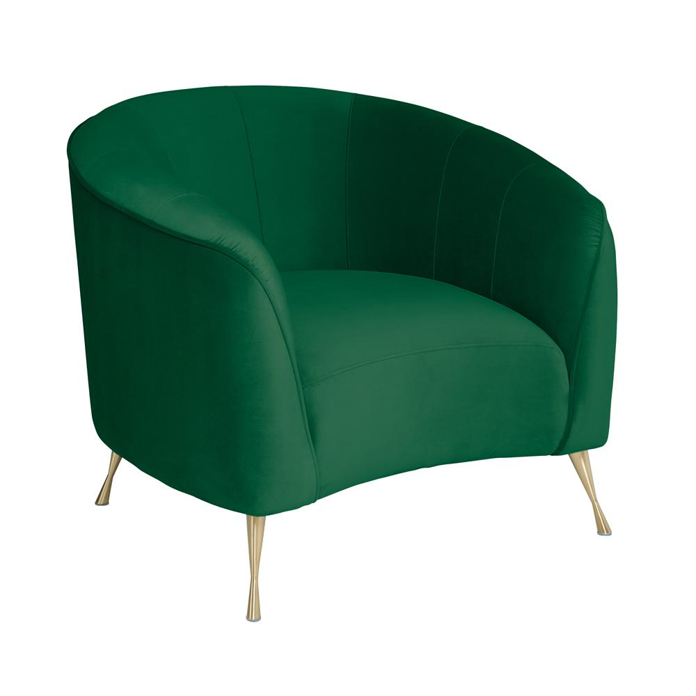 Bordeaux curve accent chair alba velvet forest green