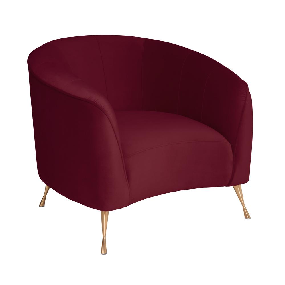 Bordeaux curve accent chair alba velvet burgundy