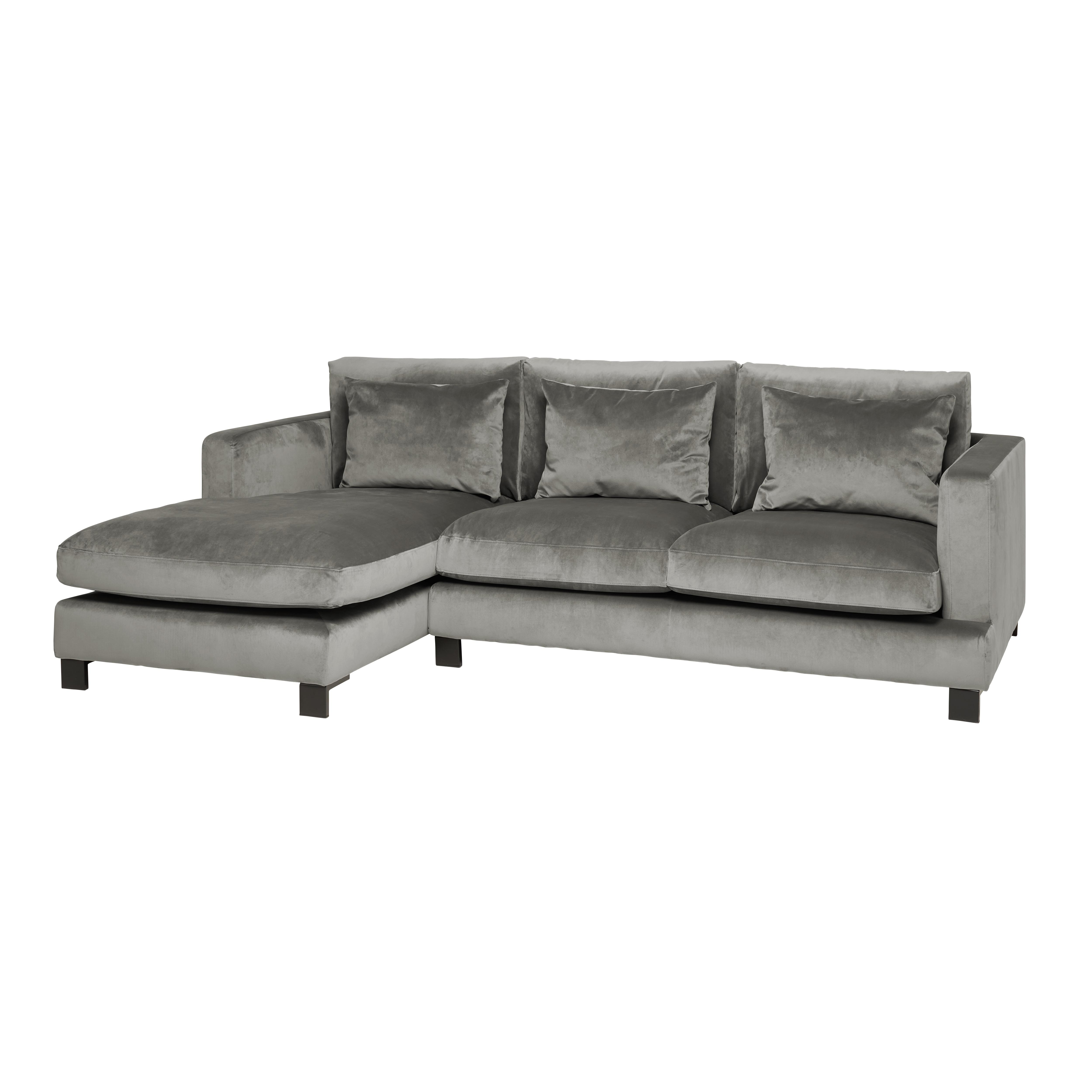 Lugano II left hand facing four seater chaise sofa alba velvet grey