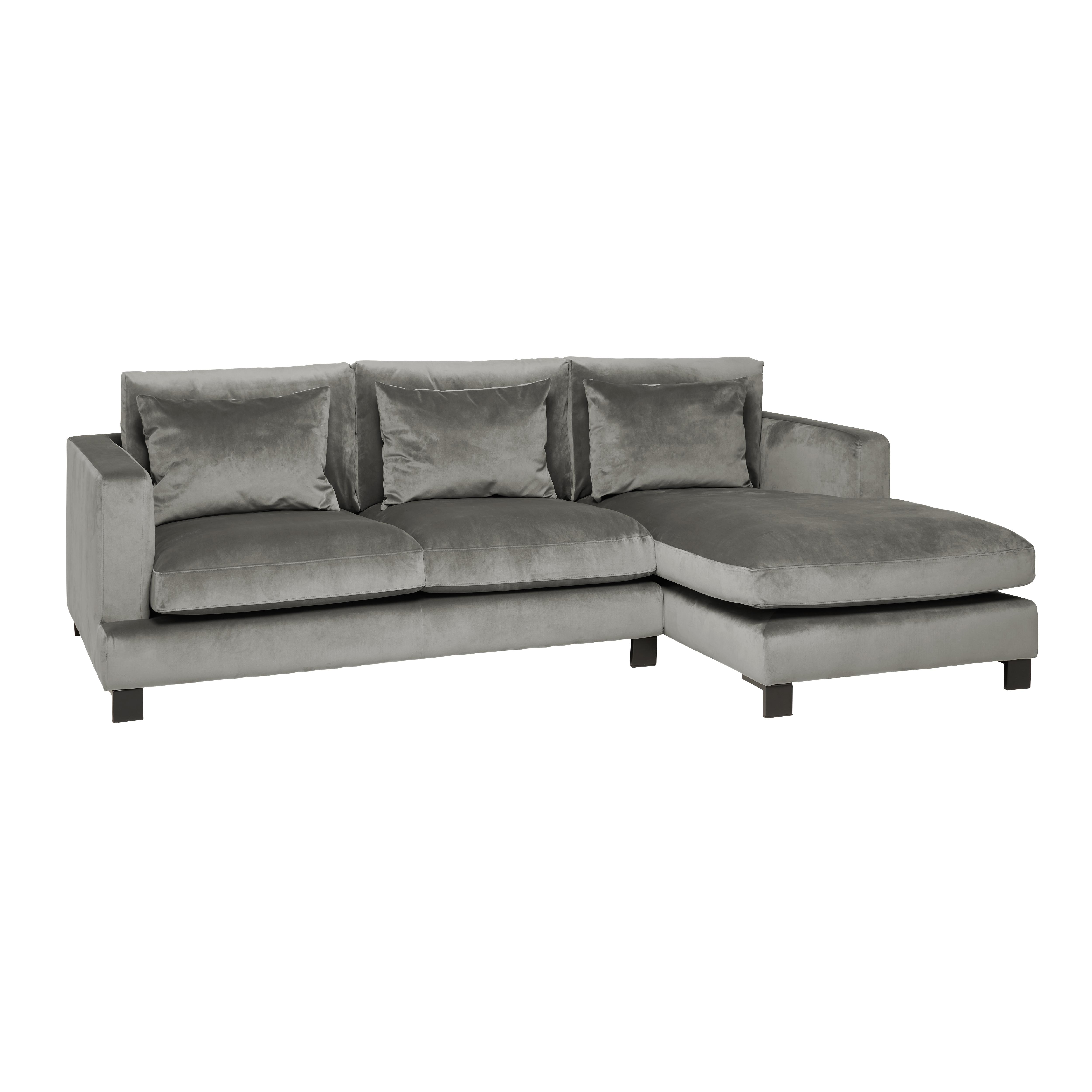Lugano II right hand facing four seater chaise sofa alba velvet grey