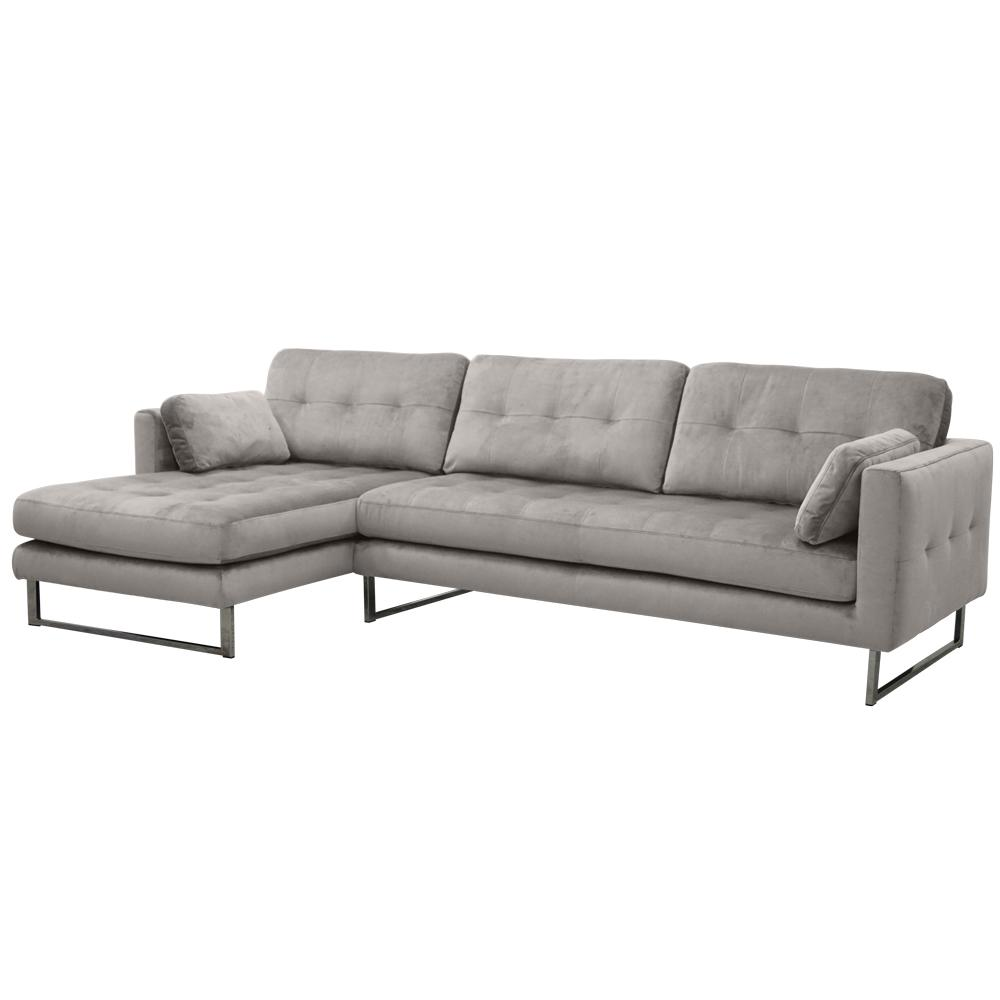 Paris II right hand facing four seater chaise sofa alba velvet grey