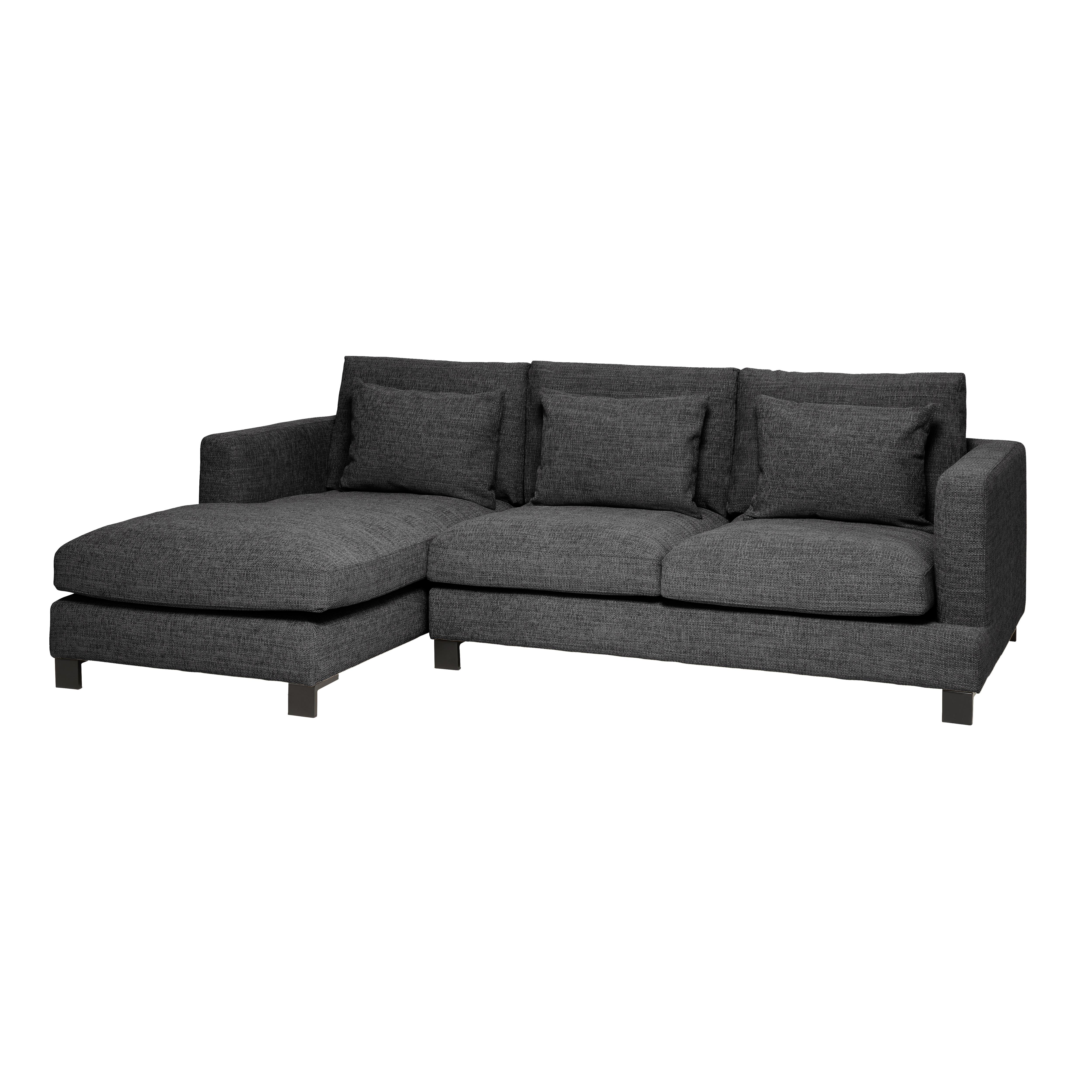 Lugano II left hand facing four seater chaise sofa callida charcoal