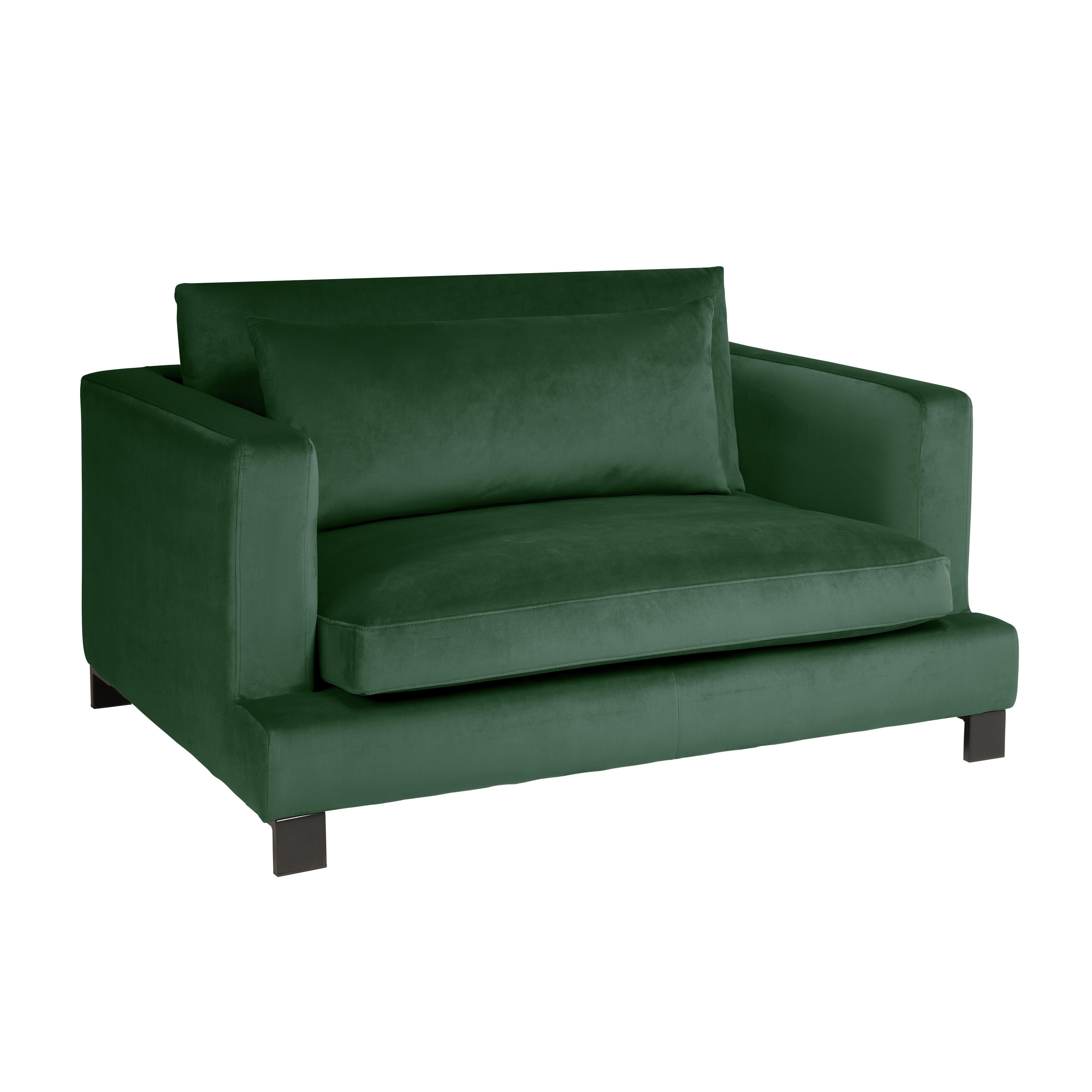 Lugano II cuddler sofa alba velvet forest green
